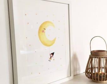 Illustration-Aquarelle-tirage d'art-affiche-décoration chambre d'enfants-décroche-moi la lune-étoiles-Ninon-rêve-nuit-jaune