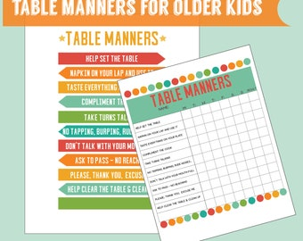 Table manners etsy for 10 good table manners