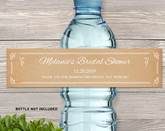 "Printable Simply Rustic Kraft Look Bottle Labels - Bridal Wedding Shower; 8"" x 2"" Labels - Editable PDF, Instant Download"