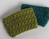 Two Coffee Cup Sleeves (100% cotton, hand-crocheted, choice of colour)