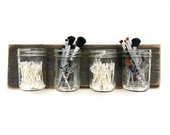 mason jar makeup brush holder. reclaimed wood mason jar organizer - dark makeup bathroom organization decor wall brush holder