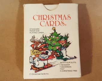 Christmas Game Cards Complete from Christmas Cards Inc., Syracuse NY ©1986 Poker Bridge Four Suits Reindeer Snowman Elf Chris Free Shipping