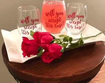 Will you accept this rose stemless wine glass * The Bachelor * The Bachelorette * the bachelor wine glass