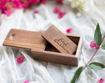 Handmade WALNUT wood SET / comes with 16gb flash drive and matching box   - USB / flash drives / jump drive / Engravable