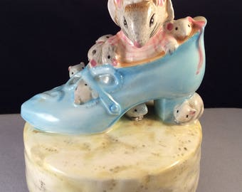 Vintage Schmid  Beatrix Potter Old Woman Who Lives in a Shoe Hand Painted Music Box