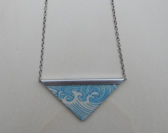 Necklace, wooden pendant, Fotopotch, Japan, wave, triangle