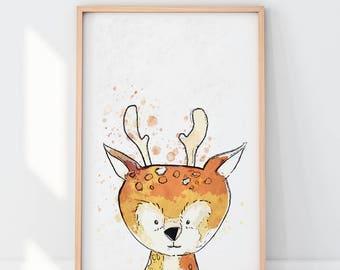 Deer print, Woodland animals, Printable art, Nursery decor, Animal art, Baby animals, Nursery wall art, Kids art, Baby Deer, Nursery art
