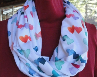Hearts Infinity Scarf // Multicolor Scarf // Gifts for Her // // Different Sizes // Made to Order