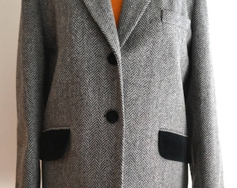 Vintage 80s grey wool herringbone blazer jacket large