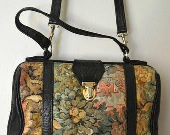 Vintage floral fabric leather shoulder bag