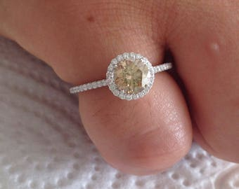 Certified 1.50 CT Fancy Brown Chocolate Round cut Diamond engagement Ring 18k white gold  hand made