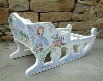 Princess sled Christmas sleigh Wooden and color sleigh