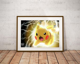 Pikachu Original Pokemon Fan Art pop culture wall art print
