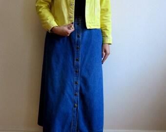 Lemon Yellow Denim Womens Jacket Vintage Yellow Jeans Jacket Size L