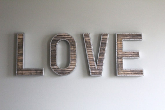 Metal Wall Letters For Nursery Large Wall Letters Reclaimed Wood Letters Rustic Home Decor