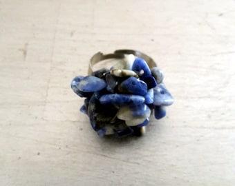 Boho gemstone ring  Denim blue colors Boho rocks ring           Shipping included