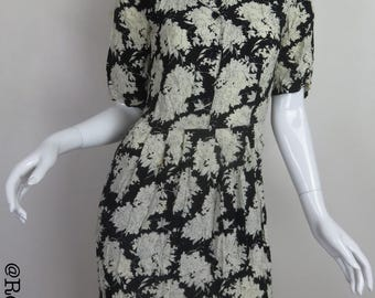 Black Dress With Large White Flowers Button Front with Pointed Collar Quarter Length Sleeves Floral Dress Above the Knee Retro Dress Forenza