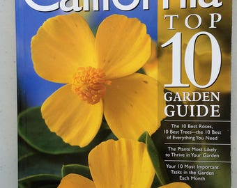 Sunset California Top 10 Garden Guide Book best plants, trees, gardening tips, planting guide, old paperback vintage / retro