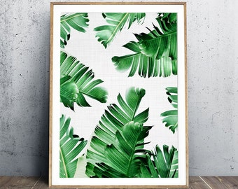 Banana Leaf Print, Tropical Print, Tropical Leaf Poster, Banana Leaves Poster, Beach Poster, Summertime Poster, Modern Art, Digital Print