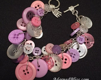Pink & Purple Button Bracelet/Women's Fashion/Button Bracelet/Pink/Purple/Jewelry/Valentines Day/Mothers Day/Gifts for Her/Buttons/Bracelet