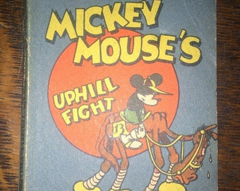 SALE  Mickey Mouse's Uphill Fight - Antique Disney Mini Book