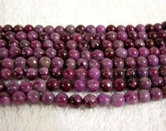 Sugilite beads round 6 mm 15 inch strand