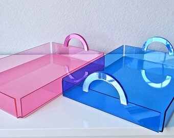 Lucite/Acrylic Neon Blue/Pink Tabletop Serving/Decor Tray With Matching Mirrored Handles