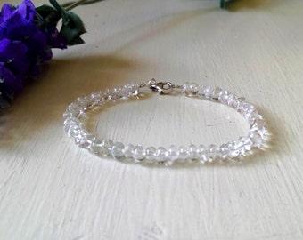 Topaz bracelet, white topaz, semiprecious stones bracelet