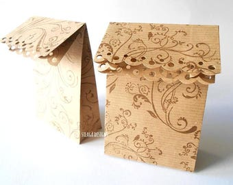 5 Hand-decorated kraft paper gift bags, wedding favor paper bags, party bags, custom gift bags, wedding packaging, kraft paper packaging