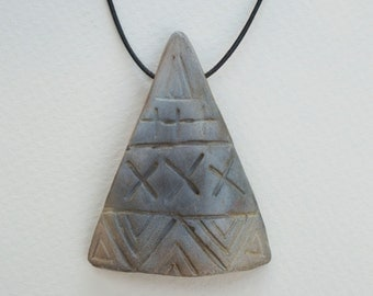 Ceramic Pit Fired Geometric Necklace on Leather Thong