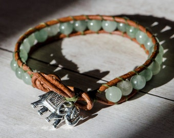 Silver Elephant Charm Leather Wrap