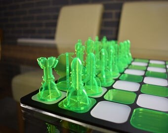 Modern Chess Set & 3D Pieces - Fluorescent Green and White - Contemporary Board Games/Puzzles