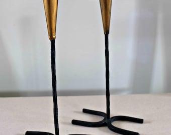Cast Iron Candlestick -Pair of Iron Candlesticks -Gold Candlesticks