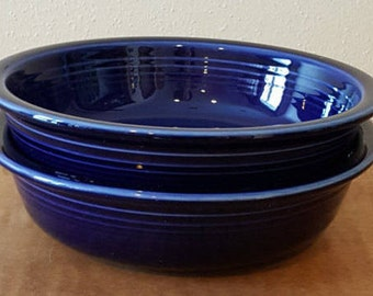 Fiestaware Bowls Fiesta Ware Set of 2 Cobalt Blue Cereal Bowls Homer Laughlin 1980s Made in the USA