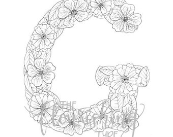 printable colouring page letter g floral inspired geranium gerbera