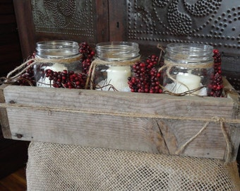 Winter Christmas Holiday Reclaimed Wood Pallet Box w/Mason Jar-Berries & Candle Table Centerpiece,Country/Farmhouse Christmas Holiday Decor