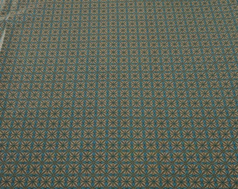 Heritage Hollow-Brown on Blue (Pattern 6314) Cotton Fabric from Henry Glass