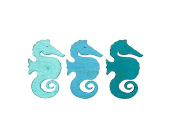 Three Piece Wall Art, Seahorse Wall Decor, Seahorse Decor, Wood Wall Art,  Wood Art, Nursery, Nautical Decor, Beach Decor, Rustic Home Decor