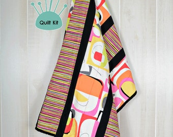 Quilt kit, Pre-Cut, Minky backed - Groovy Squares Quilt Kit