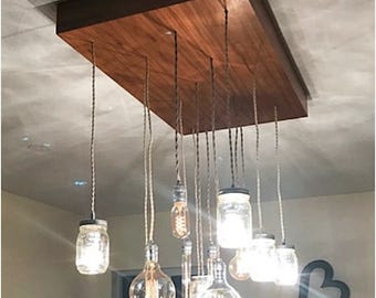 Modern Rustic Industrial Edison bulbs Mason Jar Chandelier