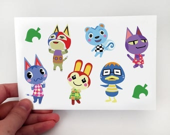 "Animal Crossing Sticker Sheets 4x6"" New Leaf Townsfolk and Villagers"