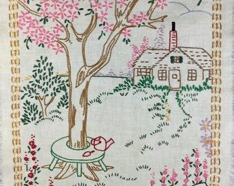 Vintage Embroidered Sampler Old Apple Tree