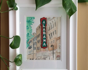 Print - Watercolor painting - The Alabama Theatre