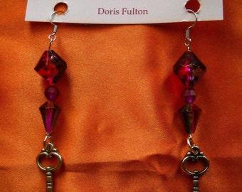 Purple Dangle Beaded Earrings with Key Charm, Fancy Clear Purple Earrings, Earring Gift for Her, Faux Crystal Dangle Wine Colored Earrings