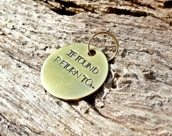 BDSM If Found Return To ... You Personalize Hand Stamped Brass Collar Charm , Master Pet Fetish Jewelry , Daddy Babygirl Jewelry