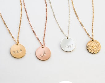Disc Necklace, Gold Circle, Initial Necklace, Simple gold Necklace, Gold Letter Necklace, Bridesmaid Gift, Silver, Gold Fill, Rose Gold D13