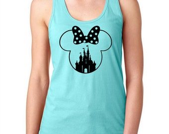 Minnie Castle  Shirt, Minnie womens shirt,  Mouse Tank, Custom Disney Shirt, Disney  Racerback Tank