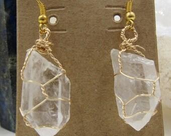 Quartz Wire Wrapped Earrings