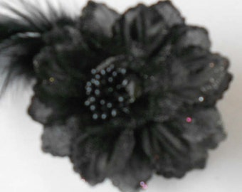 Black Fabric Flowers with Feathers and Glittered Edges