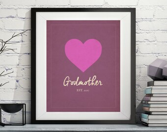 Godmother Art, Godmother Gift, Will You be my Godmother, Godparent Gift, Baptism Gift for Godmother, Gifts for Godparents, Godmother Print